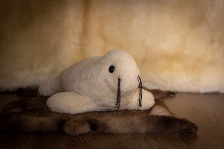 Báránybőrből készített plüss fóka gyerekeknek